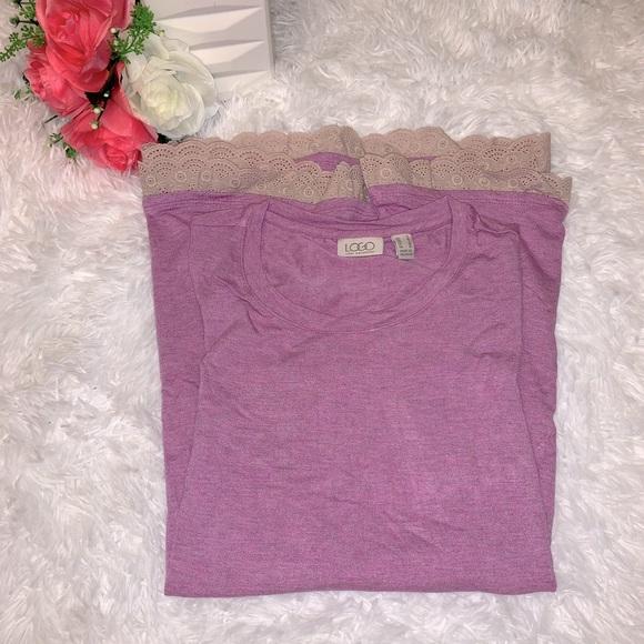 LOGO by Lori Goldstein purple tunic top size S